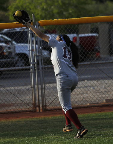 Faith Lutheran's Vanessa Valdez (19) makes a running catch in the outfield to record the final out of the game against Cheyenne on Tuesday. Faith Lutheran won, 8-2. (Jason Bean/Las Vegas Review-Jo ...