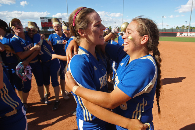 Reed pitcher Julia Jensen, left, and catcher Rheanna Smith celebrate their win over Palo Verde after their Division I championship softball game Saturday, May 16, 2015, at UNLV. Reed won the game  ...
