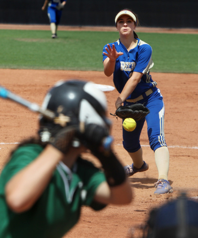 Reed pitcher Julia Jensen throws to Palo Verde during their Division I championship softball game Saturday, May 16, 2015, at UNLV. Reed won the game 3-2. (Sam Morris/Las Vegas Review-Journal) Foll ...