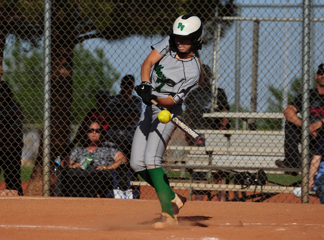 Palo Verde batter Camden Zahn hits a single in the third inning of their prep softball game  against Centennial at Palo Verde High School in Las Vegas Wednesday, March 16, 2016. Palo Verde defeate ...