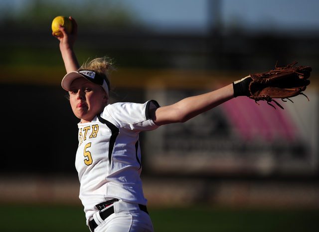 Faith Lutheran starting pitcher Mosie Foley delivers to Sierra Vista in the seventh inning of their prep softball game at Faith Lutheran High School in Las Vegas Tuesday, March 22, 2016. Faith Lut ...