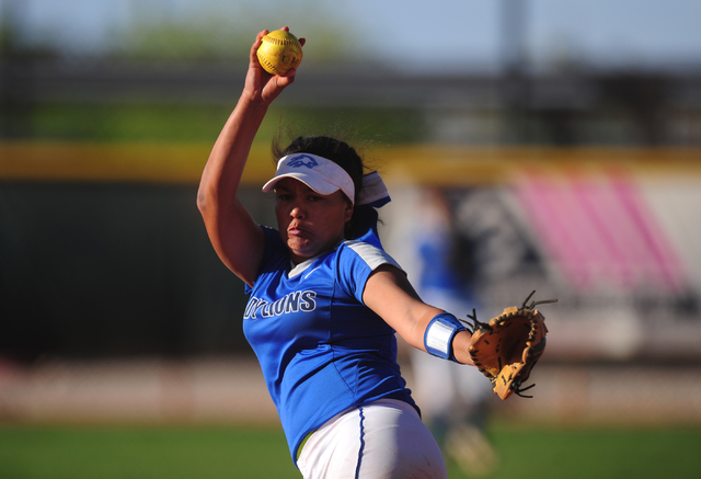 Sierra Vista starting pitcher Kalei Watkins delivers to Faith Lutheran in the seventh inning of their prep softball game at Faith Lutheran High School in Las Vegas Tuesday, March 22, 2016. Faith L ...