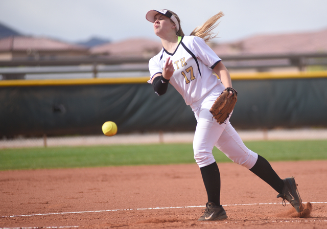 Faith Lutheran's Haley Jack (17) pitches against Sierra Vista during their softball game played at Faith Lutheran's Sam Boyd softball field in Las Vegas on Tuesday, March 29, 2016. Sierra Vista de ...
