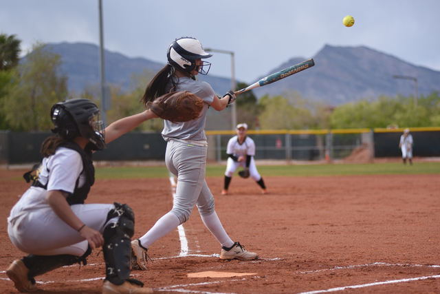 Sierra Vista's Madison Hiu (7) hits the ball against Faith Lutheran during their softball game played at Faith Lutheran's Sam Boyd softball field in Las Vegas on Tuesday, March 29, 2016. Sierra Vi ...