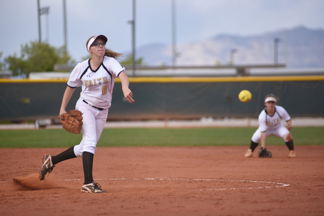 Faith Lutheran's Caileen Ryan (8) pitches against Sierra Vista during their softball game played at Faith Lutheran's Sam Boyd softball field in Las Vegas on Tuesday, March 29, 2016. Sierra Vista d ...