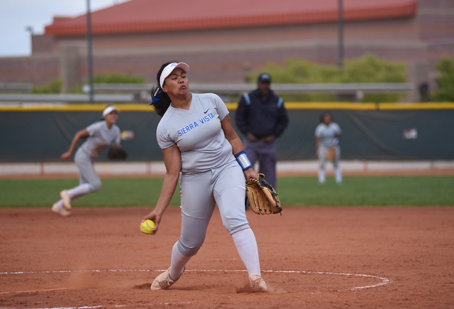 Sierra Vista's Kalei Watkins (8) pitches against Faith Lutheran during their softball game played at Faith Lutheran's Sam Boyd softball field in Las Vegas on Tuesday, March 29, 2016. Sierra Vista  ...