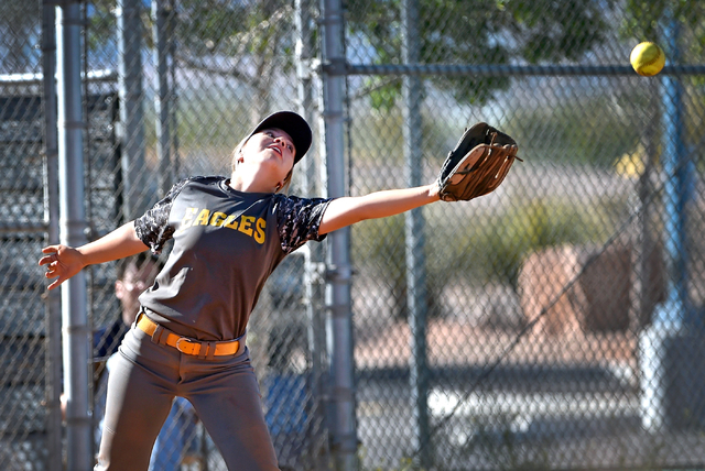 Boulder City third baseman Bryanna Lopez reaches for the  ball during a high school softball game against Sierra Vista at Sierra Vista High School Monday, April 4, 2016, in Las Vegas. Sierra Vista ...