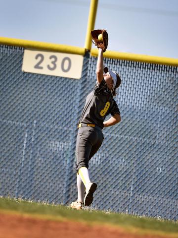 Boulder City outfielder Jerra Hinson makes a catch against Sierra Vista during a high school softball game at Sierra Vista High School Monday, April 4, 2016, in Las Vegas. Sierra Vista won 7-0. Da ...