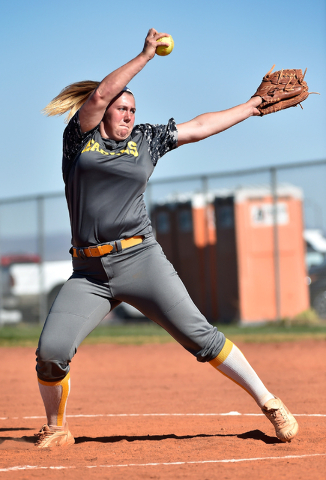 Boulder City pitcher Charlene Masterson pitches during a high school softball game against Sierra Vista at Sierra Vista High School Monday, April 4, 2016, in Las Vegas. Sierra Vista won 7-0. David ...