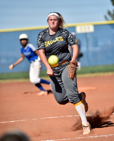 Boulder City pitcher Charlene Masterson lets loose the ball during a high school softball game against Sierra Vista at Sierra Vista High School Monday, April 4, 2016, in Las Vegas. Sierra Vista wo ...