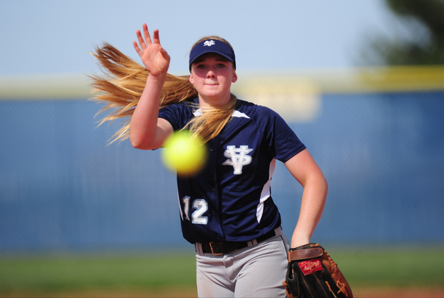 Spring Valley starting pitcher Michaela Hood delivers to Sierra Vista in the third inning of their prep softball game at Sierra Vista High School in Las Vegas Wednesday, May 4, 2016. Spring Valley ...