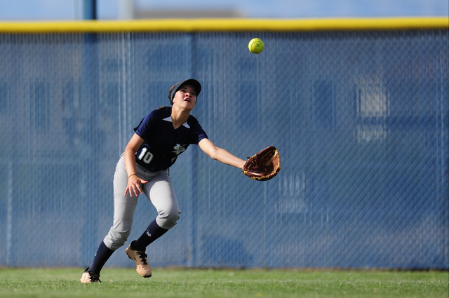 Spring Valley center fielder Teegan Teal catches a Sierra Vista pop fly in the seventh inning of their prep softball game at Sierra Vista High School in Las Vegas Wednesday, May 4, 2016. Spring Va ...
