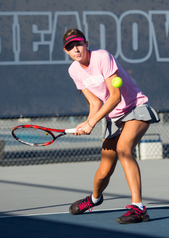 Faith Lutheran singles player Kathleen Wright will lead the Crusaders into the Division I-A state team tournament, which begins on Thursday in Truckee, Calif. (Samantha Clemens-Kerbs/Las Vegas Rev ...