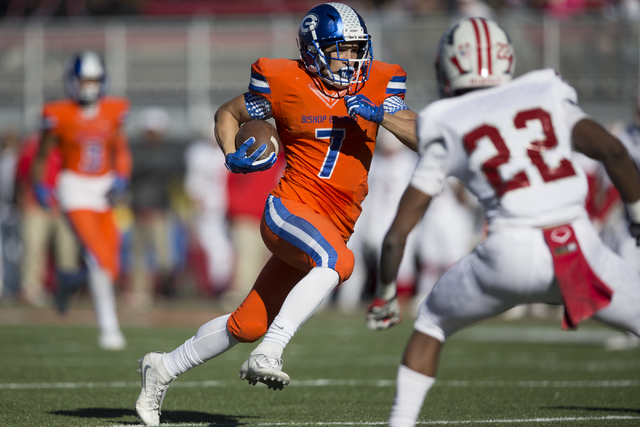 Bishop Gorman's Biaggio Walsh (7) runs the ball for a touchdown against Liberty in the Class 4A state football championship game at Sam Boyd at Sam Boyd Stadium on Saturday, Dec. 3, 2016, in Las V ...