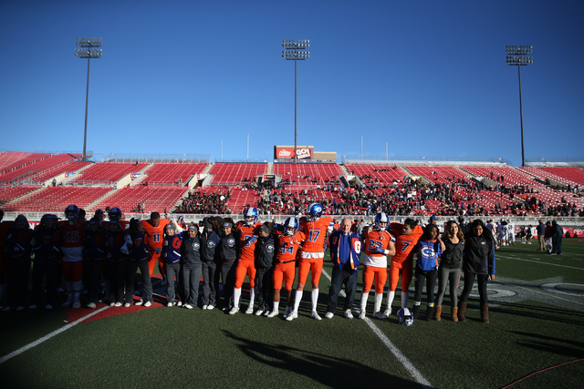 Bishop Gorman celebrate their win against Liberty in the Class 4A state football championship game at Sam Boyd Stadium on Saturday, Dec. 3, 2016, in Las Vegas. Bishop Gorman won 84-8. Erik Verduzc ...