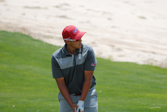 Coronado's Bradley Keyer lines up a shot during the Division I state golf tournament on Thursday. Keyer shot 72 on Thursday, and finished third at 143. (Horace Langford/Pahrump Valley Times)
