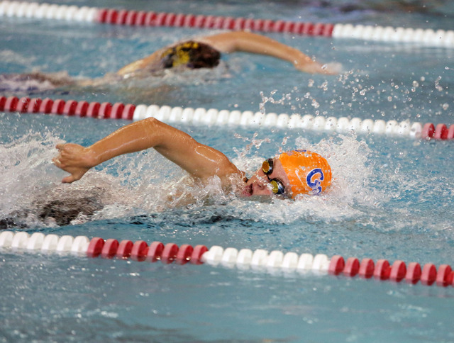Bishop Gorman's Amy Lubawy leads off the 400-yard freestyle relay during the Division I state swim meet at UNLV's Buchanan Natatorium last month. Lubawy broke two state records in freestyle at t ...