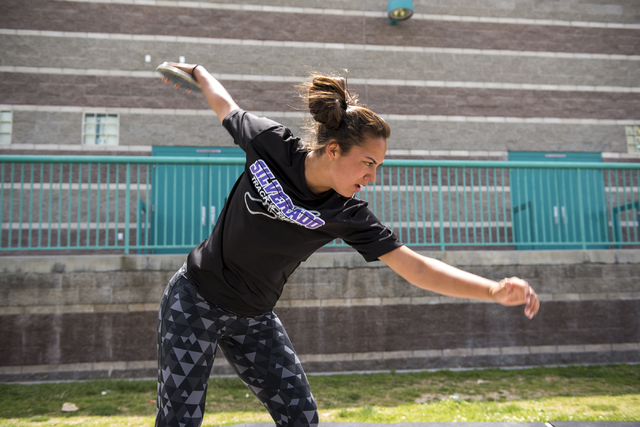 Silverado senior Monet Salazar prepares to throw the discus during practice at Silverado High School on Wednesday, May 13, 2015. (Martin S. Fuentes/Las Vegas Review-Journal)