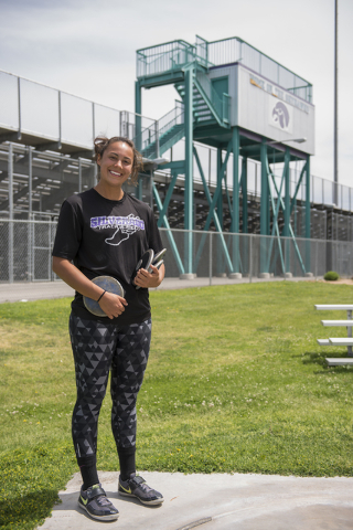 Silverado senior Monet Salazar poses during practice at SIlverado High School on Wednesday, May 13, 2015. (Martin S. Fuentes/Las Vegas Review-Journal)