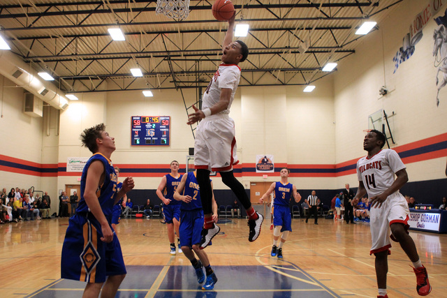 Las Vegas forward Tyler Bey sails in for a dunk against Orem at the Tarkanian Classic on Thursday. Bey picked up two early fouls but had 16 points, seven rebounds and three blocked shots in a 63-5 ...