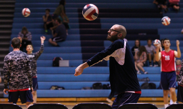 Coronado senior Michael Tatalovich, a cancer survivor, warms up before the team takes on Foothill. (Chase Stevens/Las Vegas Review-Journal)
