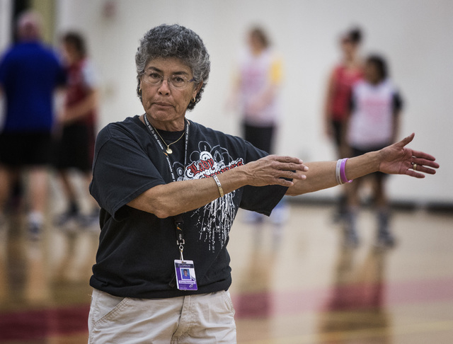 Head girls basketball coach Diane Hernandez  during practice at Southeast Career and Technical Academy gym, on Monday, Nov. 24, 2014. Hernandez  had a highly-successful run at Silverado before ret ...