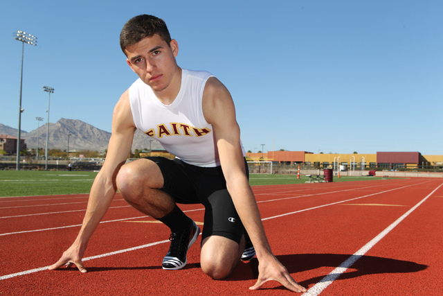 Faith Lutheran runner Mark Rubalcaba, 18, poses for a portrait during a track practice at Faith Lutheran High School in Las Vegas Monday, March 9, 2015. Rubalcaba is the defending I-A state men's  ...