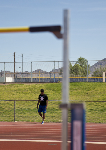 Basic High School high jumper Frank Harris prepares to demonstrate his form at the high jump pit during track practice at Basic High School on Tuesday, May 2, 2016. Daniel Clark/Las Vegas Review-J ...