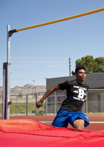 Basic High School high jumper Frank Harris approaches the bar while demonstrating his high jump during track practice at Basic High School on Tuesday, May 2, 2016. Daniel Clark/Las Vegas Review-Jo ...