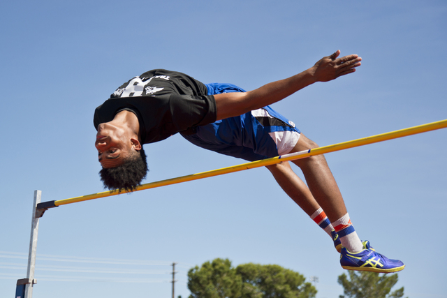 Basic High School high jumper Frank Harris clears the bar while demonstrating his high jump during track practice at Basic High School on Tuesday, May 2, 2016. Daniel Clark/Las Vegas Review-Journa ...