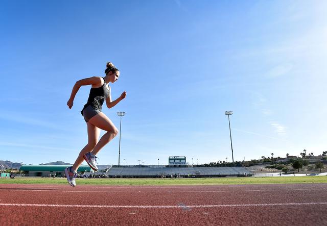 Sprinter Charleen Jordan warms up during track practice at Green Valley High School Tuesday, March 15, 2016, in Las Vegas. David Becker/Las Vegas Review-Journal Follow @davidjaybecker