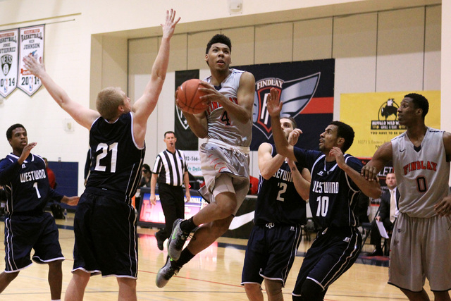 Findlay Prep guard Allonzo Trier gets through the Westwind defense during their game Tuesday, Nov. 25, 2015 at Henderson International School. (Sam Morris/Las Vegas Review-Journal)