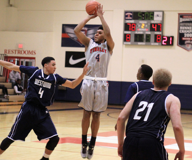 Findlay Prep guard Allonzo Trier takes a shot from outside against Westwind during their game Tuesday, Nov. 25, 2015 at Henderson International School. (Sam Morris/Las Vegas Review-Journal)