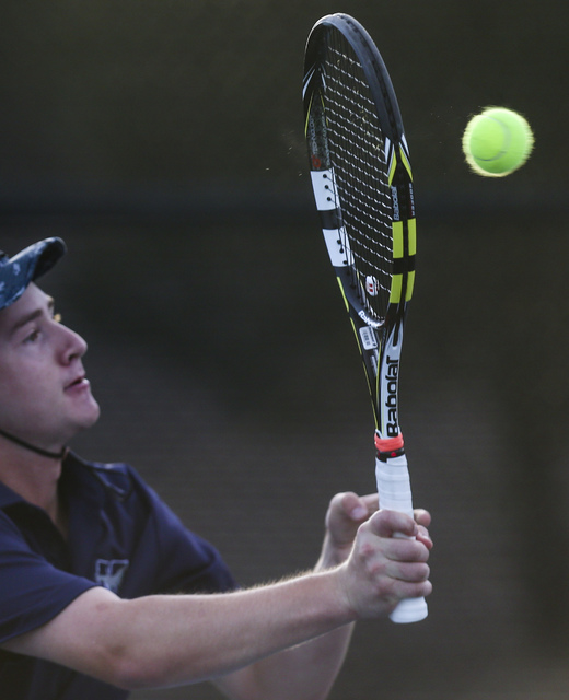 Nate van der Post of The Meadows School competes against Virgin Valley's Chris Cannon in a Class 3A Southern Region quarterfinal at Darling Tennis Center in Las Vegas on Thursday, Oct. 13, 2016. C ...
