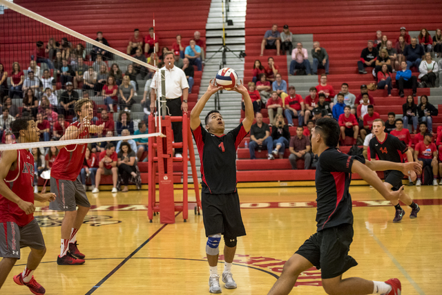 Luis Wong (1) of Las Vegas sets up a shot against Arbor View at Arbor View High School in Las Vegas on Friday, May 6, 2016. Joshua Dahl/Las Vegas Review-Journal