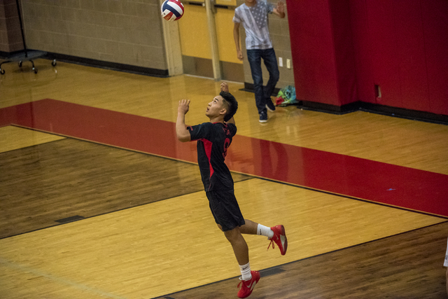 Ronell Sueno (9) of Las Vegas serves against Arbor View at Arbor View High School in Las Vegas on Friday, May 6, 2016. Joshua Dahl/Las Vegas Review-Journal