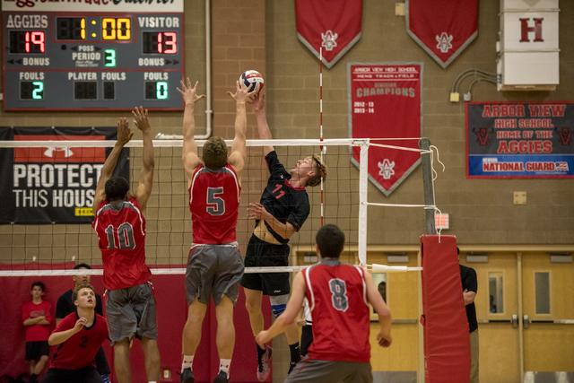 Brandon Kampshoff (11) of Las Vegas spikes the ball against Arbor View at Arbor View High School in Las Vegas on Friday, May 6, 2016. Joshua Dahl/Las Vegas Review-Journal