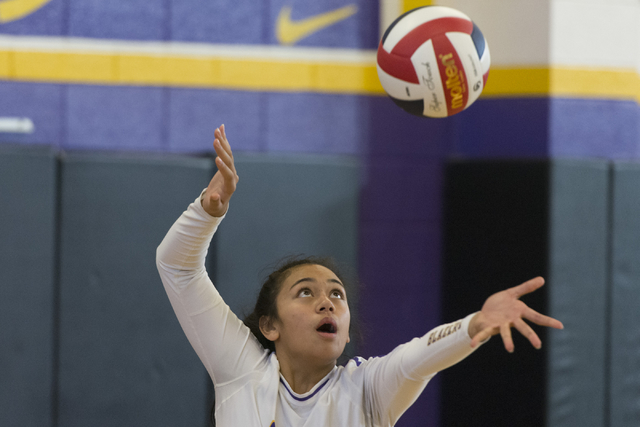 Durango's Anuhea Faitau (15) serves the ball against Shadow Ridge during a Sunset Region girls volleyball semifinal match at Durango in Las Vegas, Thursday, Nov. 3, 2016. Jason Ogulnik/Las Vegas R ...