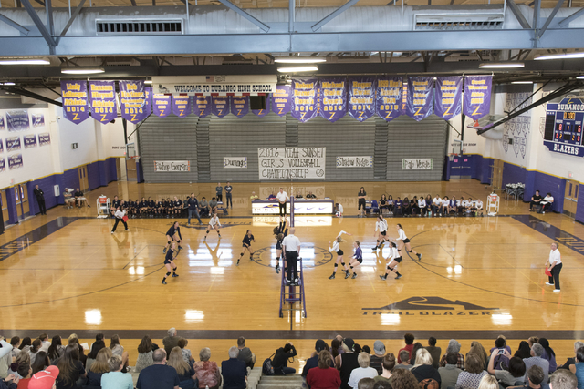 Shadow Ridge plays a match against Durango during a Sunset Region girls volleyball semifinal match at Durango in Las Vegas, Thursday, Nov. 3, 2016. Jason Ogulnik/Las Vegas Review-Journal