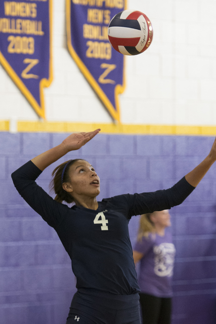 Shadow Ridge's Kizzy Rodriguez (4) serves the ball against Durango during a Sunset Region girls volleyball semifinal match at Durango in Las Vegas, Thursday, Nov. 3, 2016. Jason Ogulnik/Las Vegas  ...
