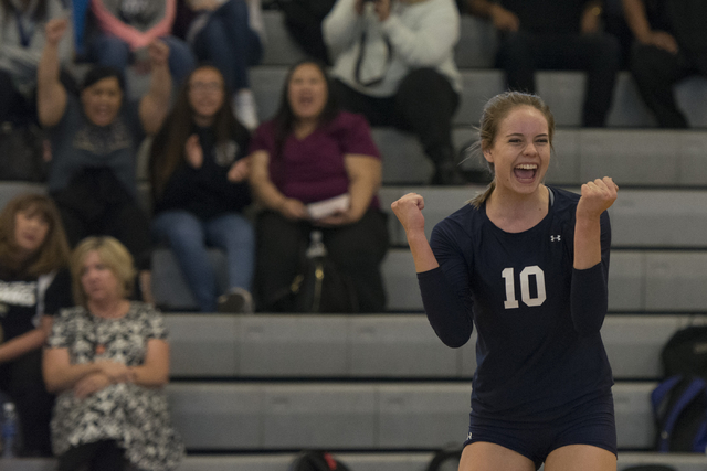 Shadow Ridge's Stacey Hone (10) celebrates a point against Durango during a Sunset Region girls volleyball semifinal match at Durango in Las Vegas, Thursday, Nov. 3, 2016. Jason Ogulnik/Las Vegas  ...
