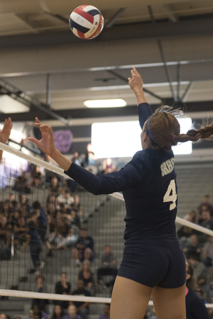 Shadow Ridge's Kizzy Rodriguez (4) hits the ball against Durango during a Sunset Region girls volleyball semifinal match at Durango in Las Vegas, Thursday, Nov. 3, 2016. Jason Ogulnik/Las Vegas Re ...