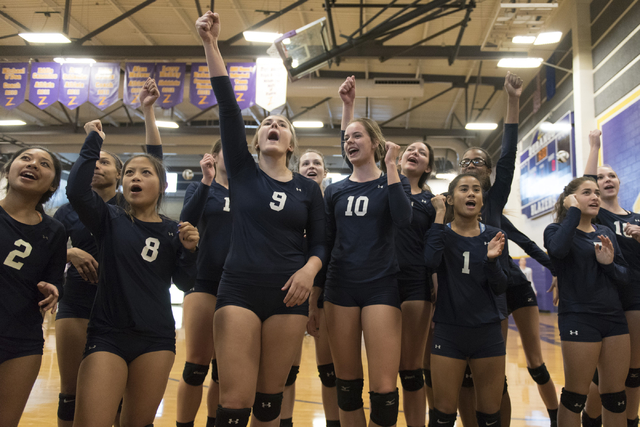 Shadow Ridge players celebrate a victory against Durango during a Sunset Region girls volleyball semifinal match at Durango in Las Vegas, Thursday, Nov. 3, 2016. Jason Ogulnik/Las Vegas Review-Journal
