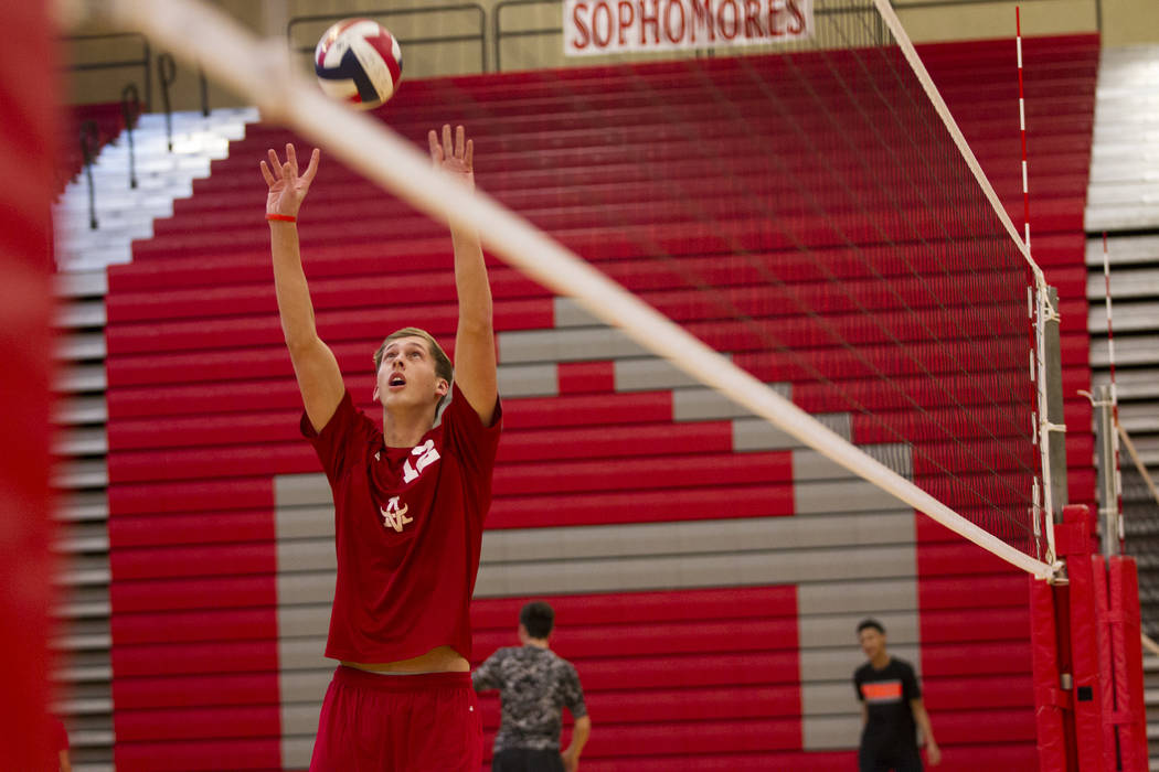 Arbor View's Brenden Wagner (12) during a volleyball team practice at Arbor View High School on Thursday, March 2, 2017, in Las Vegas. (Erik Verduzco/Las Vegas Review-Journal) @Erik_Verduzco