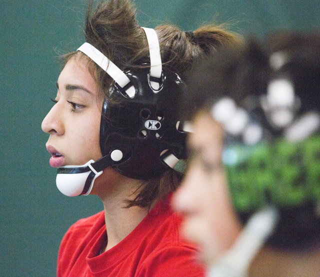 Leiana Nacapuy, a Junior Women's Freestyle Nationals All-American, listens during wrestling practice at Rancho High School on Monday, Dec. 5, 2016.(Jeff Scheid/Las Vegas Review-Journal) @jeffscheid