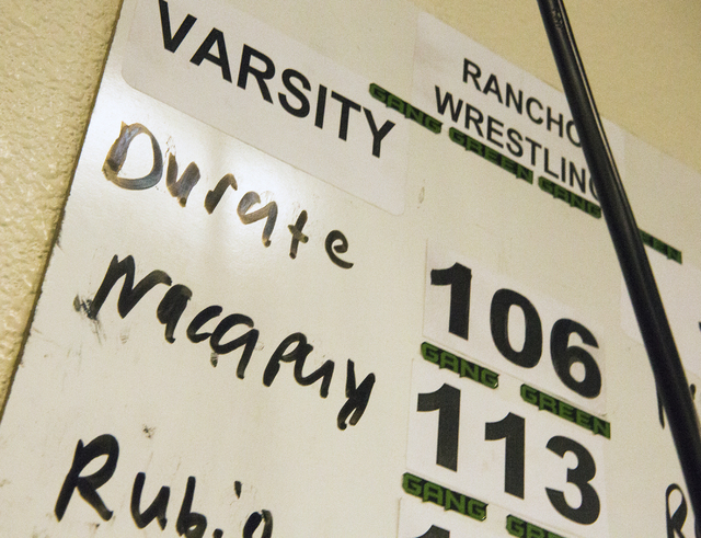 A roster board at Rancho High School shows  Leiana Nacapuy, a Junior  Women's Freestyle Nationals All-American, on varsity team on Monday, Dec. 5, 2016. (Jeff Scheid/Las Vegas Review-Journal) @jef ...