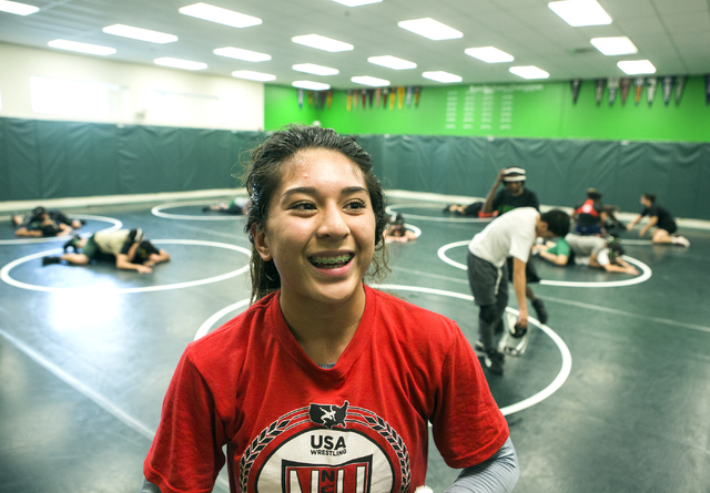 Leiana Nacapuy, a Junior Women's Freestyle Nationals All-American, smiles during wrestling practice at Rancho High School on Monday, Dec. 5, 2016. (Jeff Scheid/Las Vegas Review-Journal)@jeffscheid