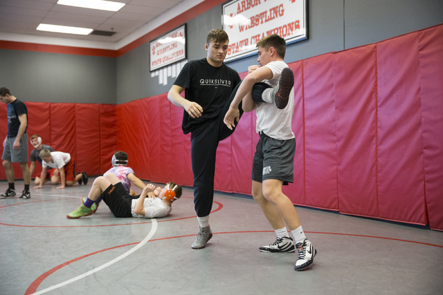 Matthew Alejandro, left, 18, wrestles with Ryder Marchello, 17, during a wrestling practice at Arbor View High School on Tuesday, Nov. 29, 2016, in Las Vegas. Erik Verduzco/Las Vegas Review-Journa ...