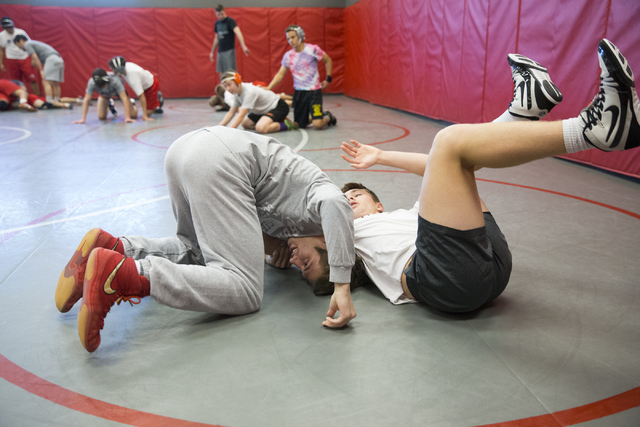 Dawson Downing, left, 17, and Ryder Marchello, 17, wrestle during a team practice at Arbor View High School on Tuesday, Nov. 29, 2016, in Las Vegas. Erik Verduzco/Las Vegas Review-Journal Follow @ ...