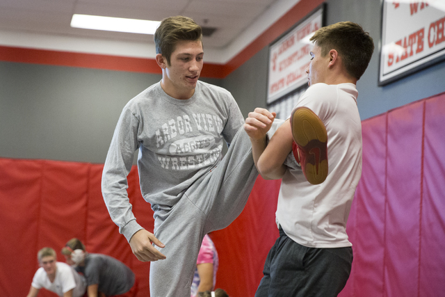 Dawson Downing, left, 17, and Ryder Marchello, 17, wrestle during wrestling practice at Arbor View High School on Tuesday, Nov. 29, 2016, in Las Vegas. Erik Verduzco/Las Vegas Review-Journal Follo ...